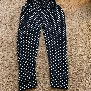 Pants - black and white polka dotted joggers with pockets